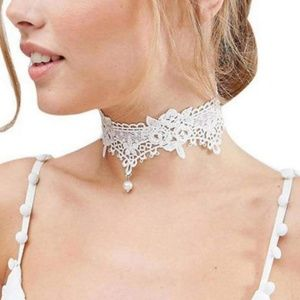 Choker Necklace - Roses on White Lace